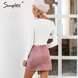 Image 4 - Simplee Asymmetrical split women skirts Elegant lace up bow tie ladies suede short mini skirts Solid black autumn female skirts
