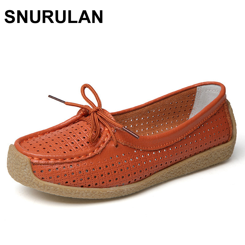 SNURULAN New Women Flats Leather Shoes Moccasins Mother Loafers Soft Leisure Female Flats Driving Women shoes Casual Footwear(China)