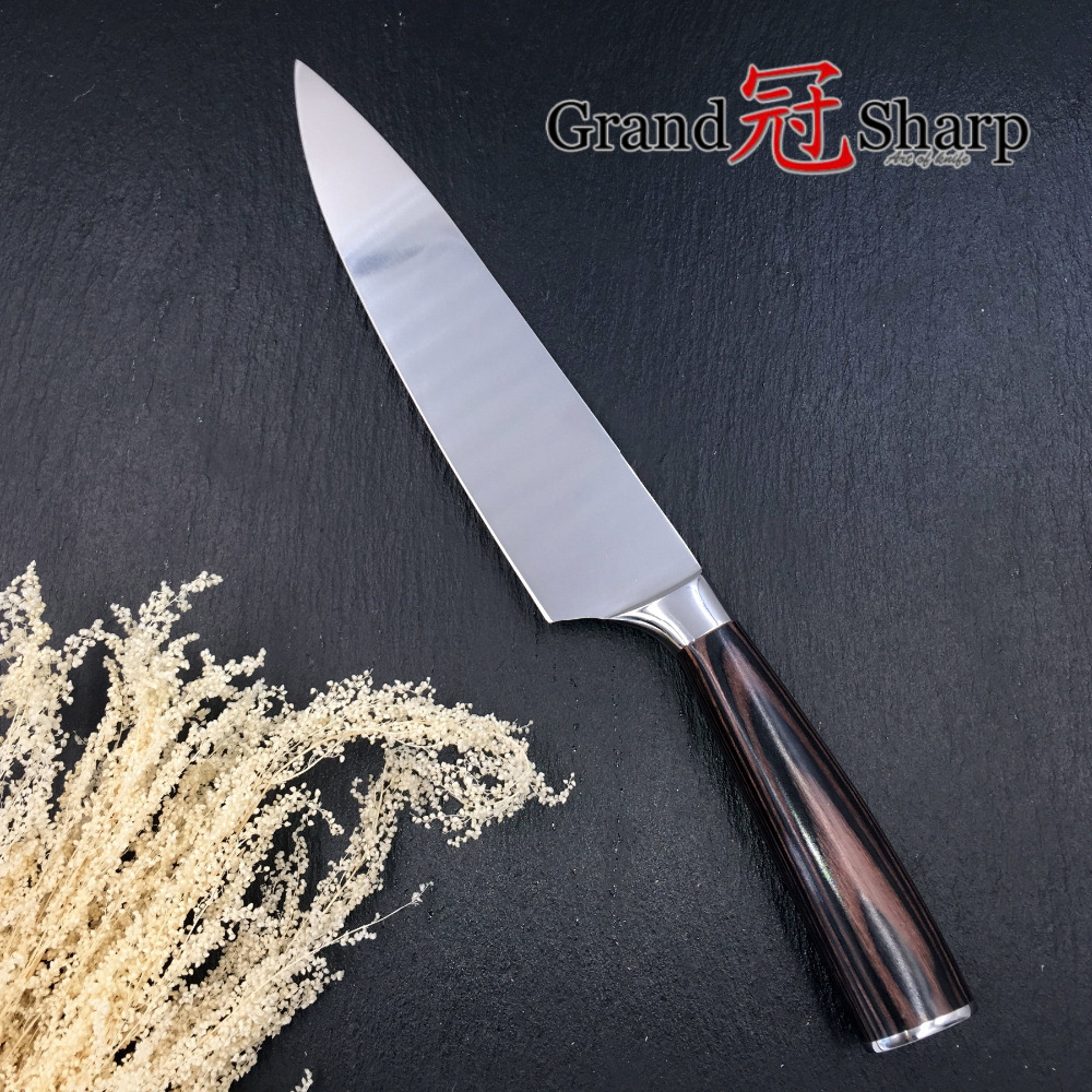 Image 5 - GRANDSHARP 8 Inch High Quality Chef Knife High Carbon AUS 8 Japanese Stainless Steel Pakka Handle Kitchen Knife Cooking Toolschef knifekitchen knifeknife cooking -