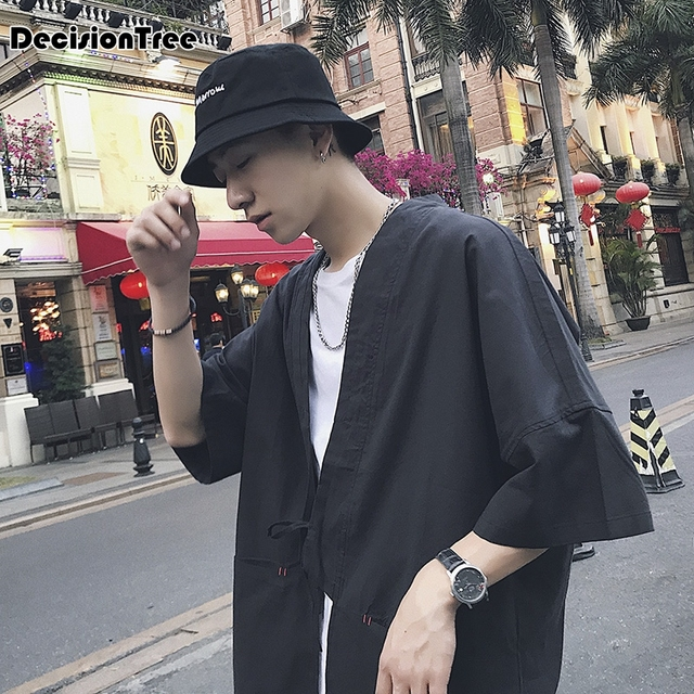 2019 summer mens kimono japanese clothes streetwear dragon printed casual kimonos jackets harajuku japan style cardigan outwear