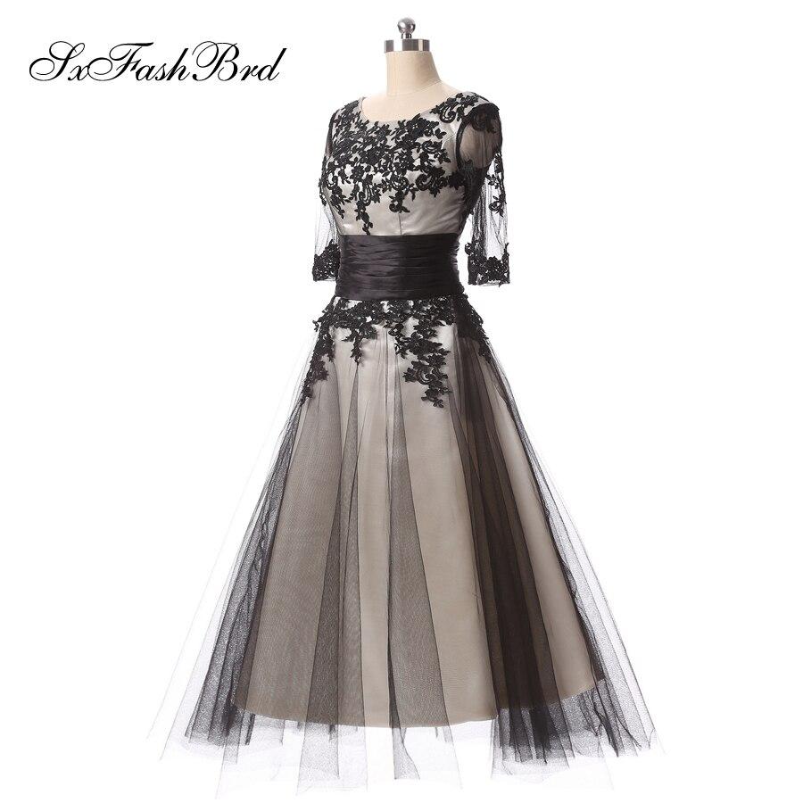 Robe De Soiree Longue O cuello con apliques una línea corto negro - Vestidos para ocasiones especiales