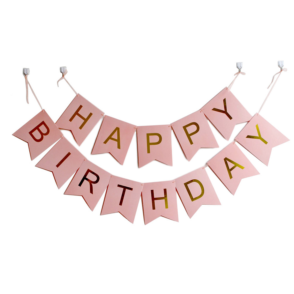 100pack Happy Birthday Banner With Gold Letters Party Decorations Swallowtail Bunting Flag Garland Pink Blue White Mint Black Birthday Banner Happy Birthday Bannerbunting Flags Aliexpress