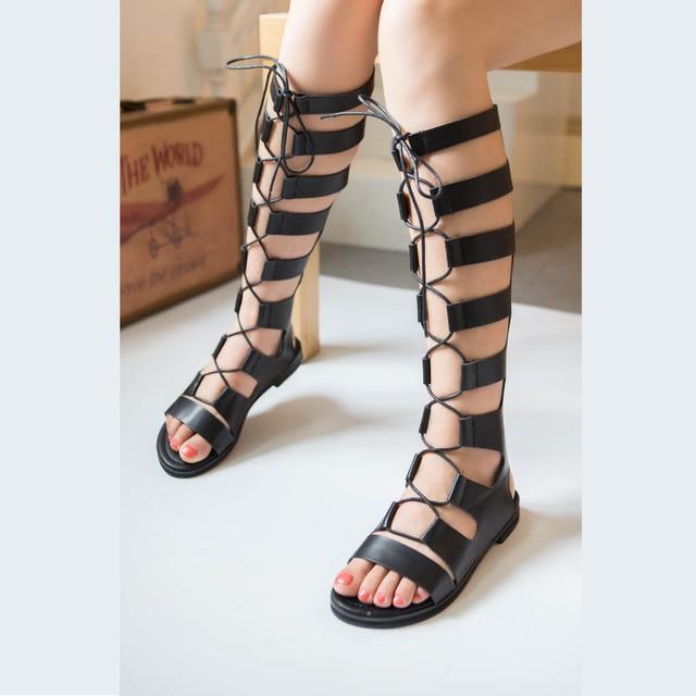 bbdf3ee3b84 Gladiator Sandals Woman knee high sandalias botas femininas summer Sexy  Cross-tied Lace up Women Boots Sandal Shoes