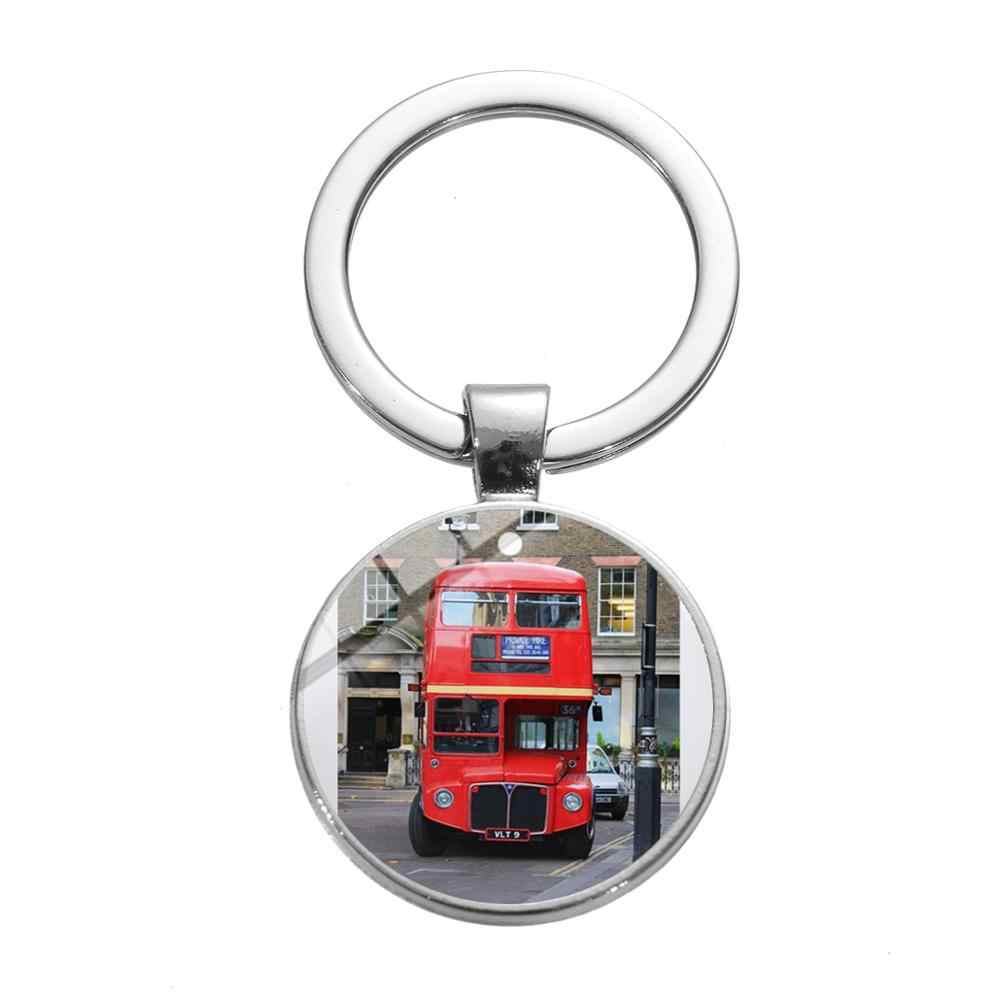 SONGDA London Double Decker Bus Travel Cute Keychain Novelty Red Bus Old London Cartoon Printing Glass Dome Keyring Chain Holder
