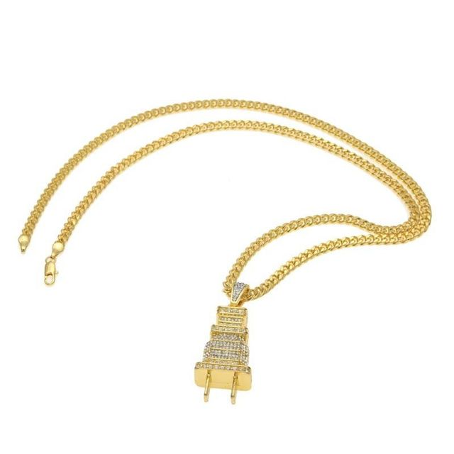 Hip Hop Gold Silver Rhinestone Electrical Plug Chains Bling Iced Out Jewelry Gifts Men Women Crystal Necklaces Choker 2C0205 2
