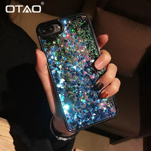 OTAO Liquid Quicksand Bling Sequins Phone Case For iPhone XS MAX XR X 8 7 6 6s Plus 9 Love Heart Glitter Cases Shockproof Cover