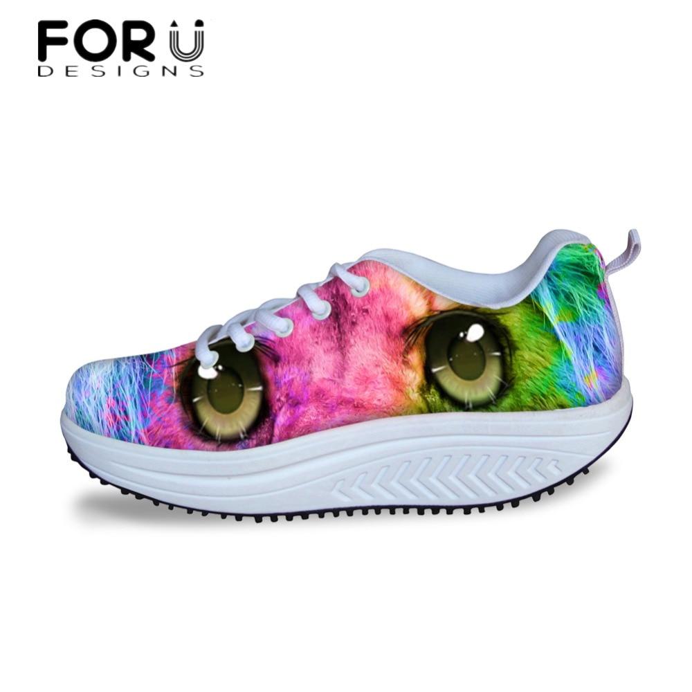 aa388167c5948 US $49.99 |FORUDESIGNS Cute 3D Animal Eyes Pattern Platform Shoes Woman  Fashion Casual Swing Shoes Flats for Women Wedge Slimming Shoe Girl-in  Women's ...