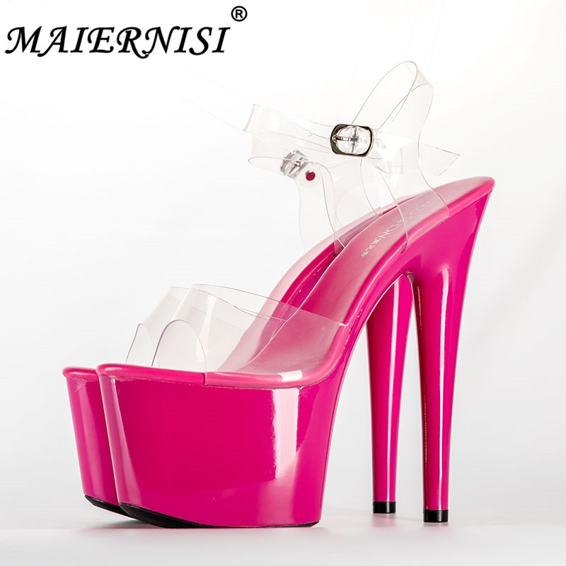 2019 Summer Platform Sandals Women Sexy PVC Transparent Slim Ultra High Heels 17CM Shoes Women Sandale Female Pole Dancing Shoes 20cm pole dancing sexy ultra high knee high boots with pure color sexy dancer high heeled lap dancing shoes