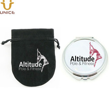 100pcs/lot Customized Logo Cosmetic Compact Mirror With Gift Pouch Printed Silver Round Pocket Makeup Party Favors