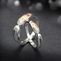 Two Tone 18 К Gold diamond обручальное кольцо Пара указан 0.06 + 0.04ct Ювелирные изделия с алмазами ручной работы Обручение группа