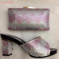 New Arrival Silver Color Italian Shoes With Matching Bags African Shoe And Bag Set For Party