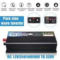 Peaks 3000W/4000W 12V/24V/48V/64V To 220V Intelligent Car Solar Pure Sine Wave Inverter Power Converter LCD Display