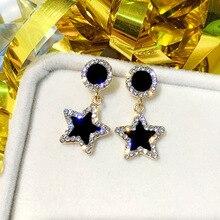 Ufavoirte Statement Earrings Black Square star Geometric Earrings For Women Crystal Luxury Wedding Rhinestone Earring a suit of cute rhinestone geometric earrings for women