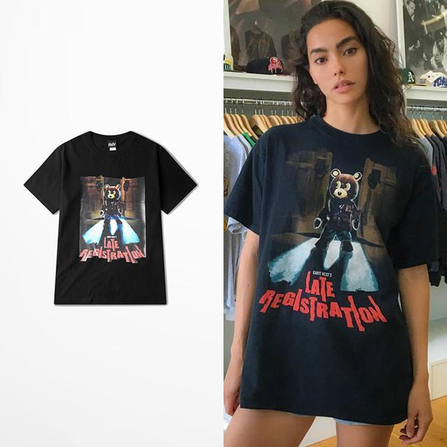Kanye Vermelho Deusa Maré Marca T Camisa Retro High Street Mosca Morta skate Harajuku Amantes Casal de Algodão Solto Top Tee Trasher