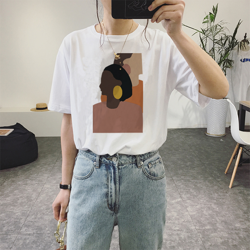 Summer New Fashion Harajuku Personality Girl Print Women's Casual Loose Round Neck Short Sleeve T-tenday Talk