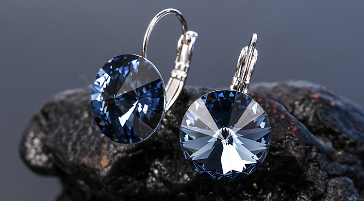 HTB1h6PabBWD3KVjSZKPq6yp7FXaB Warme Farben Earring for Women Made with Swarovski Crystal Round Stone Drop Earring Silver 925 Jewelry Earring Gift for lady