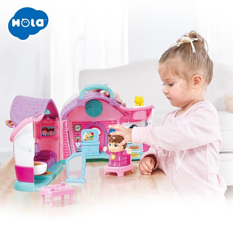 Hola 3128b 가족 집 공주 인형 집 diy 빌라 성 가구 시뮬레이션 꿈 소녀 장난감 집 3 년-에서인형 집부터 완구 & 취미 의  그룹 1