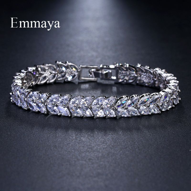 Emmaya Brand Fashion Classic AAA Cubic Zircon White Gold Geometric Bracelets For Woman Elegance Wedding Party Birthday GiftEmmaya Brand Fashion Classic AAA Cubic Zircon White Gold Geometric Bracelets For Woman Elegance Wedding Party Birthday Gift
