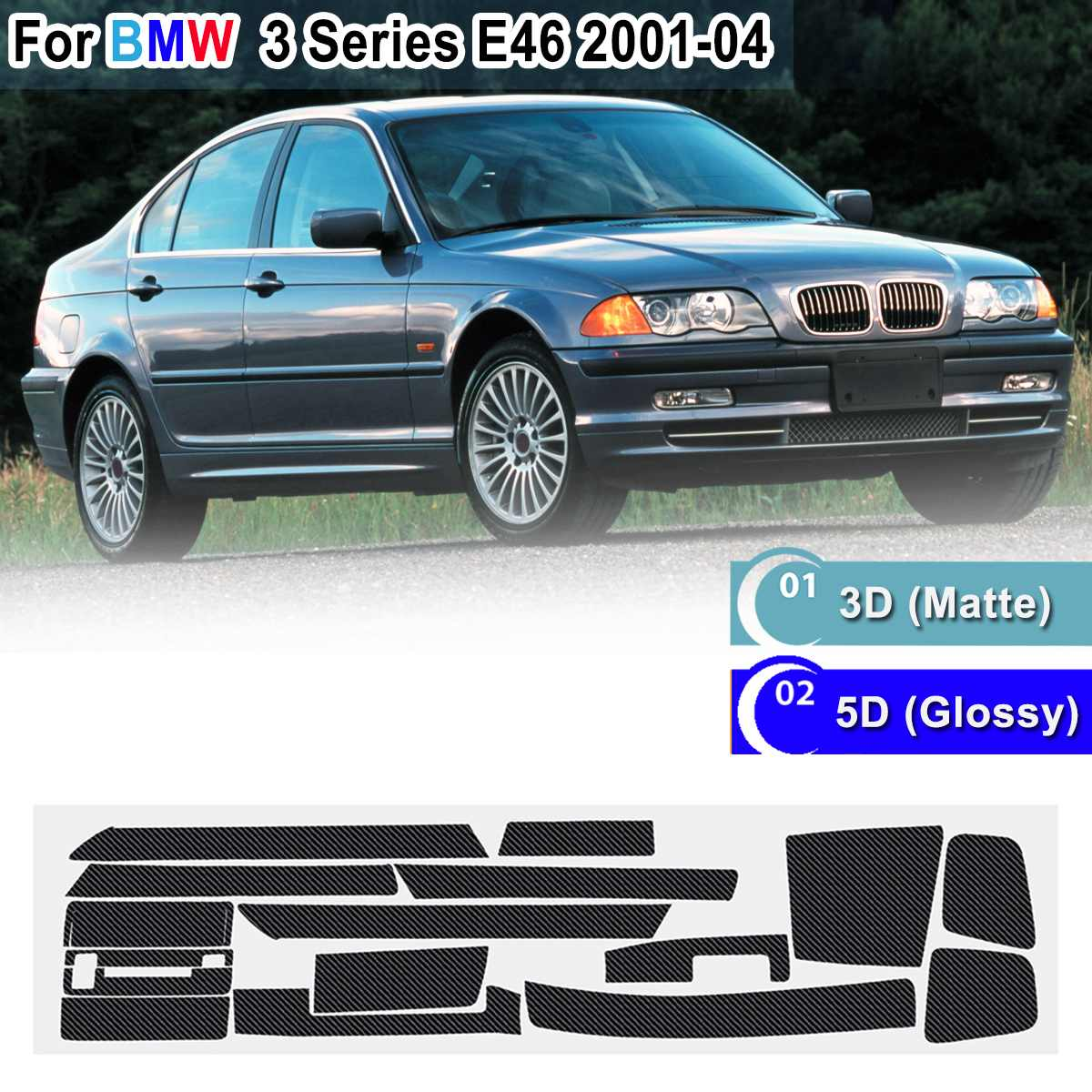 18pcs RHD 5D Glossy/ 3D Matte Carbon Fiber Pattern Interior Sticker Vinyl Decal Trim For BMW 3 Series E46 2001-2004