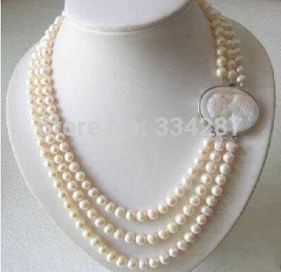 Genuine 3 Rows 7-8MM Freshwater pearl Necklace Cameo Clasp