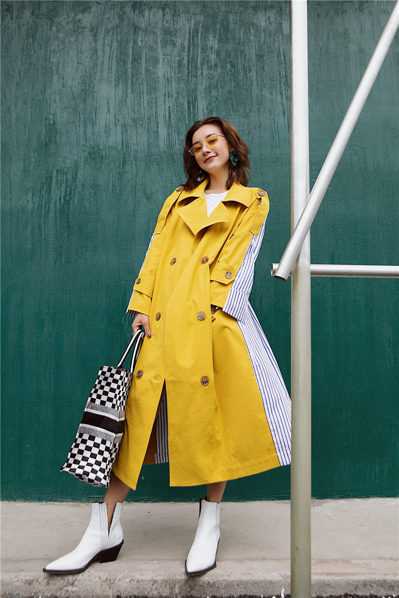 Korean Women Clothes 18 Autumn Windbreaker Female Long Coat New Style Striped Stitching Yellow Winter Trench Coat 7