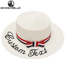 Embroidery Personalized Custom Name Text LOGO Women Sun Hat Lace Ribbon Bow Men Straw Outdoor Beach hat Summer Unisex Cap