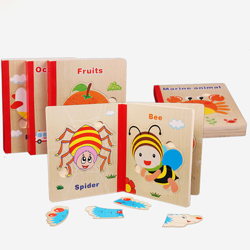 2018 Wooden Books  Early Educational Toy 3D Puzzle Jigsaw Toys For Children Cartoon Animal Wood Puzzles Intelligence Kids Baby