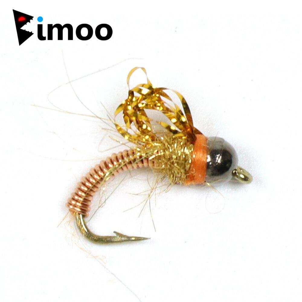 Bimoo 6PCS #14 Tungsten Bead Head Copper Wire Baetis Nymph Fly Trout Fishing Flies Caped Avenger Fast Sinking Рыбная ловля