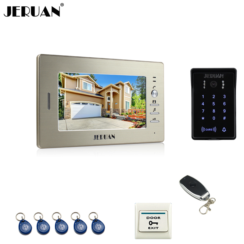 JERUAN Luxury 7`` TFT video door phone intercom system RFID new waterproof touch key password keypad camera +remote control jeruan 8 inch tft video door phone record intercom system new rfid waterproof touch key password keypad camera 8g sd card e lock
