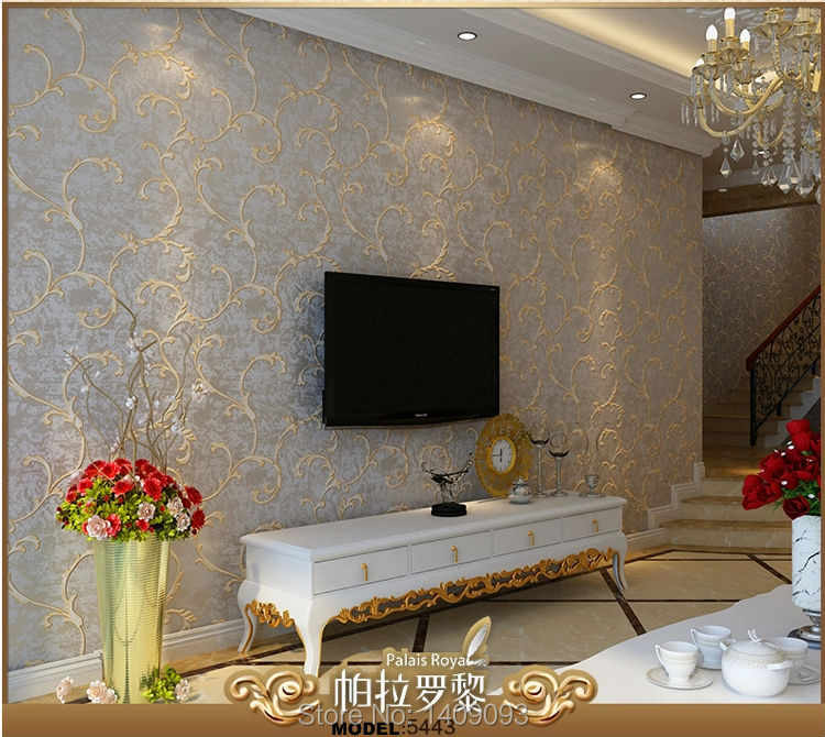 Luxury European Style Wallpapers Non Woven Flocking Glitter Papier Peint Living Room Wall Paper Fl 3colors In From Home