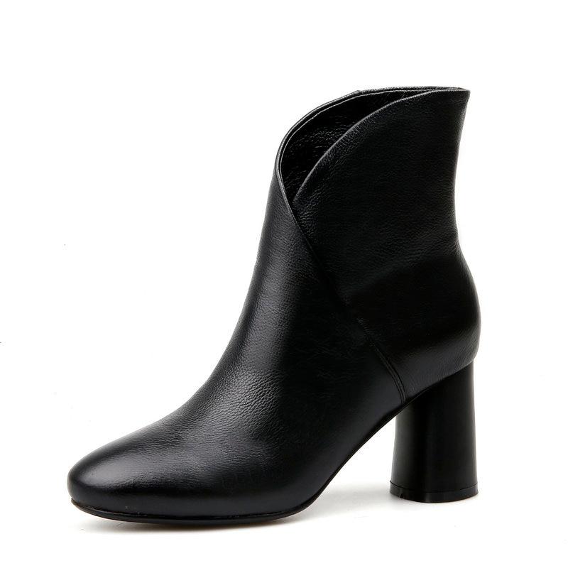 2019 新 8 センチメートルハイヒールの女性のアンクルブーツ本革オフィスの女性ドレス白、黒、黄色大サイズ 42 43  グループ上の 靴 からの アンクルブーツ の中 3