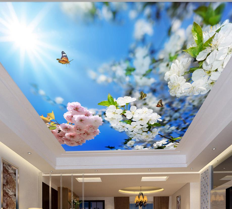 Us 11 68 55 Off 3d Ceiling Tiles Blue Sunshine And Flowers Custom Wallpaper 3d Ceiling Decoration Wall In Wallpapers From Home Improvement On
