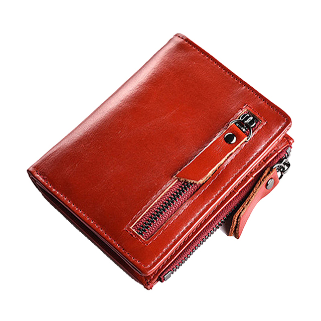 New Women Wallet Leather Wallet Bifold Zipper Credit ID Card Holder With Coin Purse Male Wallet Brand Red Luxury Gift For Ladies