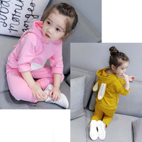 Autumn Spring Boys Girls Clothes Set Cartoon Rabbit Sweatershirt T Shirt and Pant 2pcs Kids Outfit Sport Suit Children Clothing