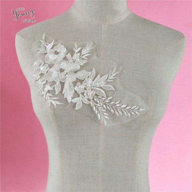 d2c57f05e2f9 Blanco Perla de Faux flor encaje Collar de tela Trim DIY bordado encaje  Escote de tela