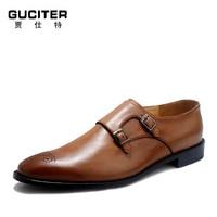 Goodyear заказ индивидуальные монах обуви плавки Малый цвет кисти из воловьей кожи кожа мужские кожаные туфли