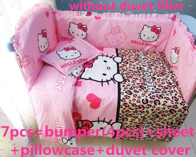Discount! 6/7pcs Hello Kitty baby bedding set cotton curtain crib bumper baby cot sets baby bed bumper,120*60/120*70cm