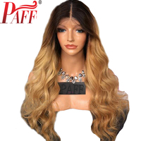 PAFF Ombre full lace human hair wig remy hair Brazilian body wave two tone Blonde #1B 27 human hair wig with free part babyhair