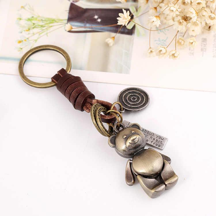 لطيف الدب الرجال المفاتيح حقيبة قلادة جلدية حقيقية ضافر سيارة مفتاح سلسلة حلقة حامل المجوهرات