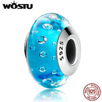 WOSTU Authentic 925 Sterling Silver Blue Clear CZ Murano Glass Beads Fit Original Charm Bracelet S925