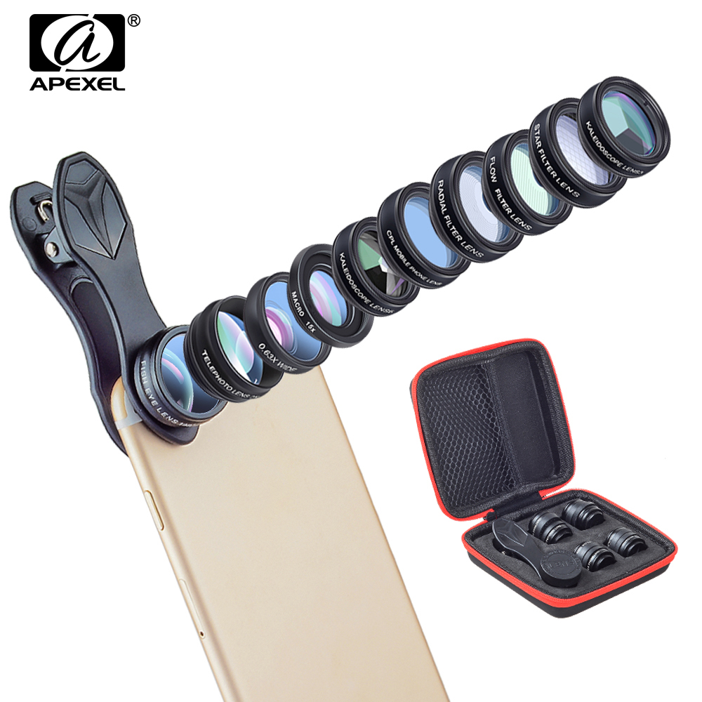APEXEL 10in1 Phone Camera Lens Kit 2X Telescope Fish eye Wide Angle macro Lentes For iphone 6s 7 8 X Xiaomi Samsung Smartphones