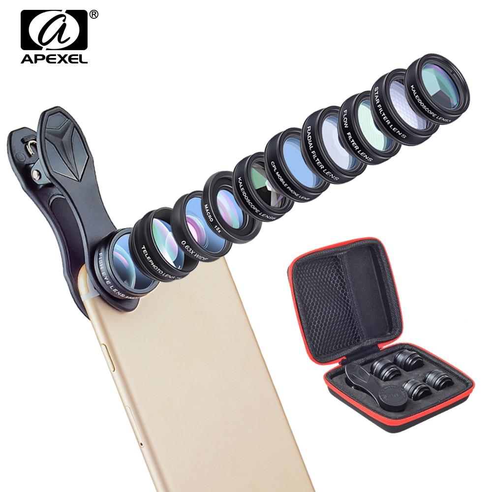 APEXEL 10in1 Phone Camera Lens Kit 2X Telescope Fish eye Wide Angle macro Lentes For iphone 6s 7 8 X Xiaomi Samsung Smartphones