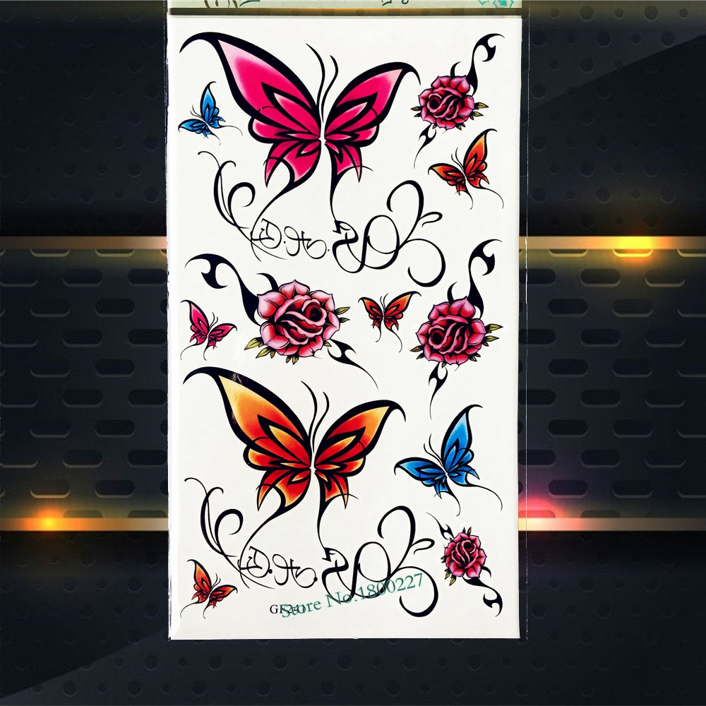Lace Butterfly Sexy Temporary Tattoo Roses Pattern Women Summer Style Tattoo Stickers PGF241 Kids Body Arm TAttoo paste