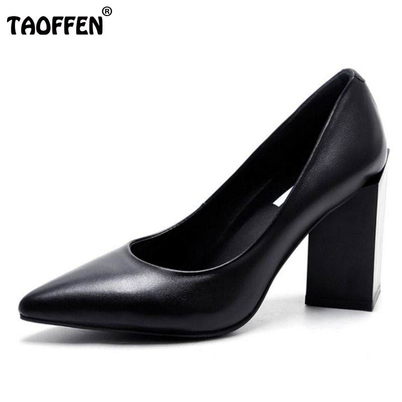TAOFFEN Women High Heels Real Leather Shoes Women Thick Heels Pumps Brand Pointed Toe Office Lady Shoes  Footwear Size 34-39 women s geniune leather high heels shoes women pointed toe pure color high heeled pumps office lady sexy footwear size 33 40