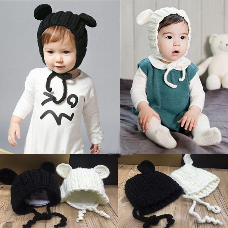 2016 new arrival baby skullies 3-24months baby beanies boy girl ears hat cute baby cap wholesale 2 colors baby hats