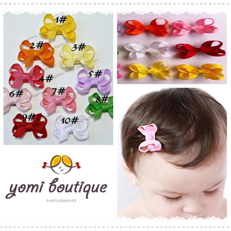 50pcs lot fashion 2015 tiny baby girl infant solid ribbon bows