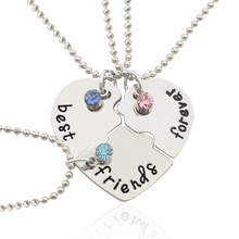 2016 Hot Best Friend Forever Statement Necklace Sets 3 Pieces Puzzle Broken Heart Necklaces & Pendants BFF Collier  Friendship
