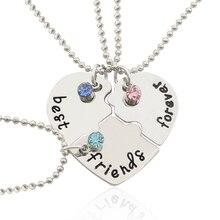 2017 Hot Best Friend Forever Statement Necklace Sets 3 Pieces Puzzle Broken Heart Necklaces Pendants BFF