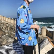 Cartoon Printed Open Stitch Three Quarter Kimono Jacket Men 2018 Summer Men's Kimono Jackets