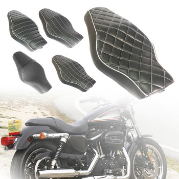 1pc Motorcycle Black Driver+Passenger Two Up Sofa Seat Tour Seat Bench Rear Cushion for Harley Sportster 883 48 Iron XL1200